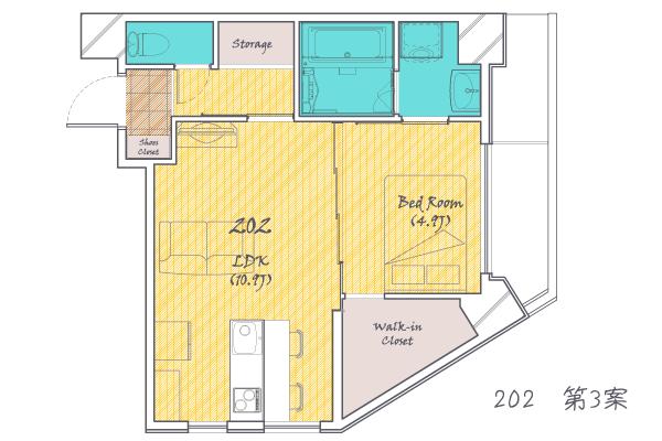 お部屋の広さだけでなく、テレビ、ソファ、ベッドなどを書き込んだ間取り図