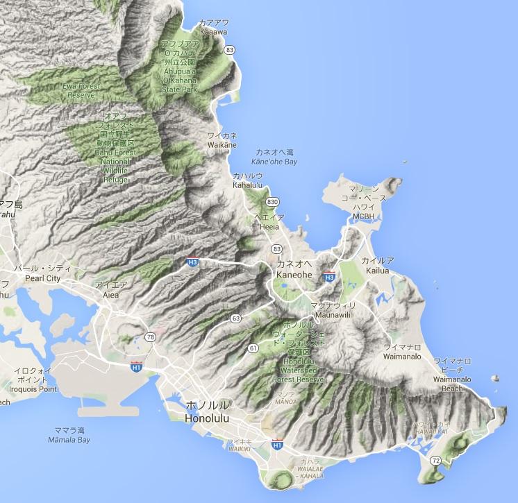 ワイアナエ山脈とコオラウ山脈が北西から南東方向にかけて走っており、最高峰は標高1,220m