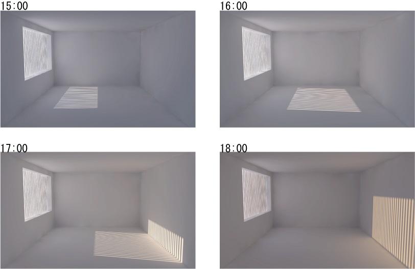 縦型ブラインド 13~14時をカットする角度に取付 : 15時移行は無効 (夏至)