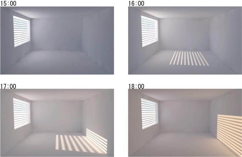 水平ブラインド 視界を確保すると日射も侵入してしまう (夏至)